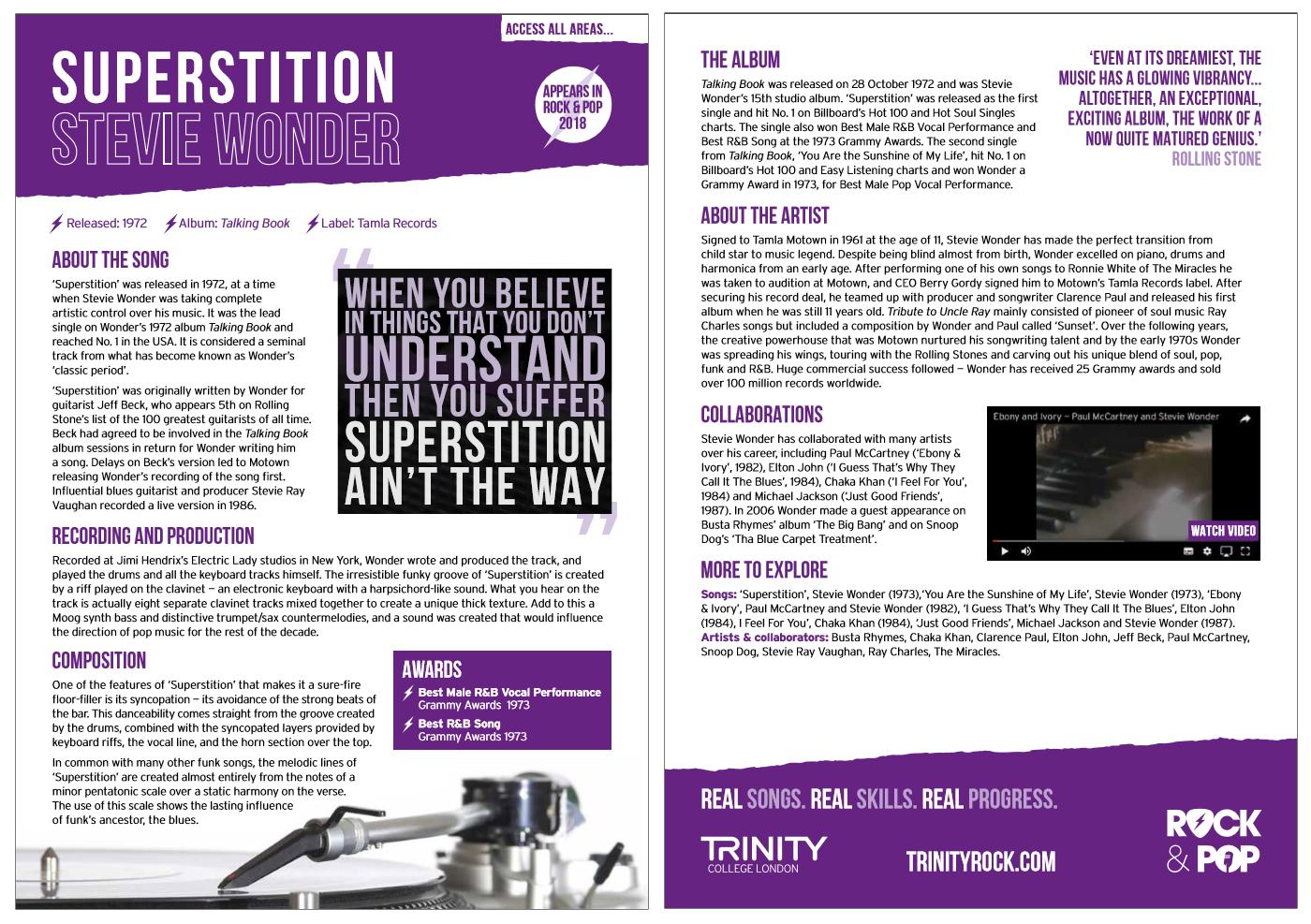 PRODUCER'S NOTES - 'SUPERSTITION', STEVIE WONDER | Rock & Pop